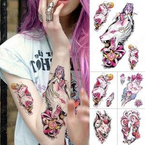 Waterproof Temporary Tattoo Sticker Japanese Pink Anime Cat Sailor Moon Flash Tattoos Fox mask Body Art Arm Fake Tatoo Women Men