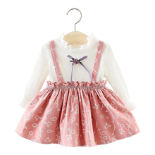 Autumn Girl Dress Baby Girl Dresses Long Sleeve Cotton Princess Dress Bow-knot Birthday Pleated Dresses Newborn Costume