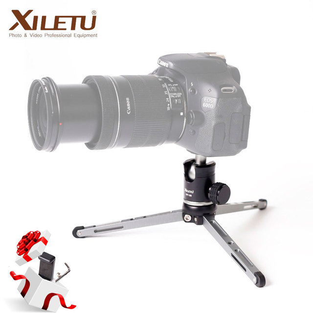 XILETU Mini Trípode de sobremesa MT26 + XT15, aleación de aluminio, con rótula de bola para cámara DSLR, sin espejo
