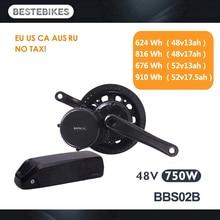 Bafang мотор BBS02B BBS02 48V 750w комплект для переоборудования электрического велосипеда мА/ч. аккумулятор вело электродвигатель 48v13/17ah 52v13/17.5ah батареи