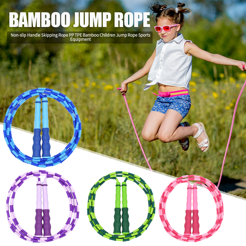 Bamboo Non-slip Handle Skipping Rope PP TPE Children Student Jump Rope Sports Fitness Training Exercise Workout Equipment Tool