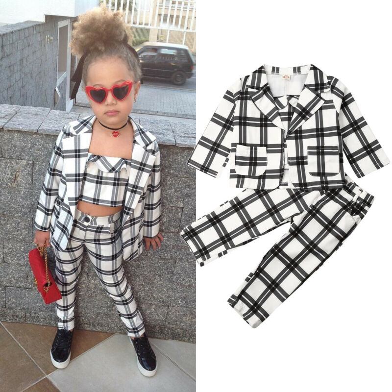 Baby Fall Clothes | 3Pcs Fashion Kids Baby Girl Plaid Suits Fall Clothes Sets Long Sleeve Lapel Blazer Coa+Vest+Pencil Pants Girls Outfits 2 7Y