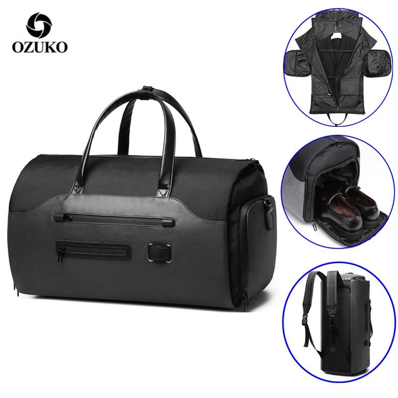 OZUKO Travel Bag Multifunction Men Suit Storage Large Capacity Luggage Handbag Male Waterproof Travel Duffel Bag Shoes Pocket 1