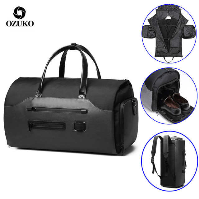 OZUKO Travel Bag Multifunction Men Suit Storage Large Capacity Luggage Handbag Male Waterproof Travel Duffel Bag Shoes Pocket 1