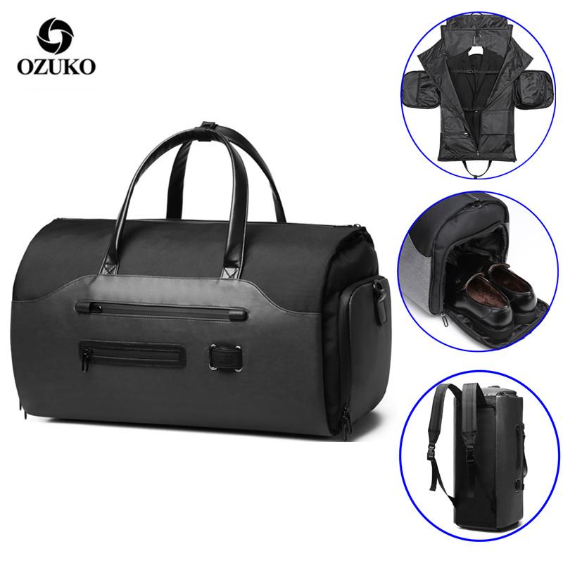OZUKO Travel Bag Multifunction Men Suit Storage Large Capacity Luggage Handbag Male Waterproof Travel Duffel Bag Shoes Pocket