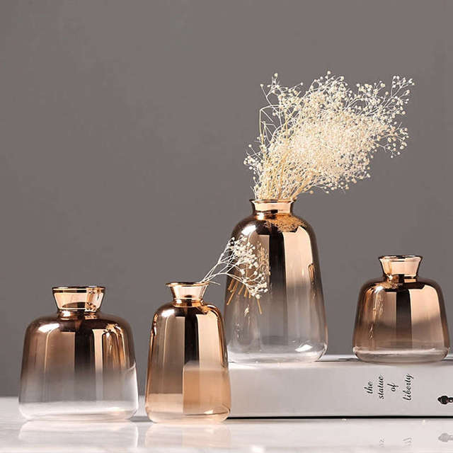 New Gradient Golden Glass Vase Nordic Electroplated Flower Vases For Home Decor Dried Flower Bottle Bar Restaurant Decoration 1