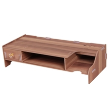 Wooden Monitor Stand Riser Computer Desk Organizer with Keyboard Mouse Storage Slots for Office Supplies School Computer Heigh