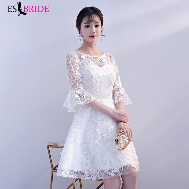 Women Sexy Short Evening Dresses Lace White Long Sleeve Autumn Winter Homecoming Party Evening Dress