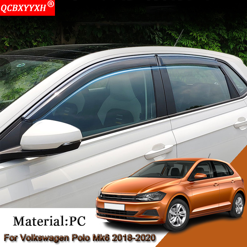 4pcs Car Awnings Shelters Window Visors Sun Rain Shield Stickers Covers Auto Accessories For Volkswagen Polo Mk6 AW 2018-2020