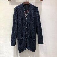 Spring Black Cardigan Women Long Sleeve Knitting Cardigan Sweater 2019 Pockets Print Female Long Cardigan