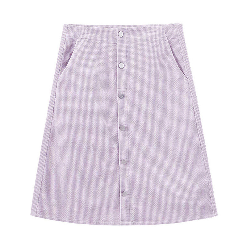 Image 5 - INMAN 2020 Spring New Arrival Literary High Wasit Single Breasted A Pendulum Loose SkirtSkirts   -