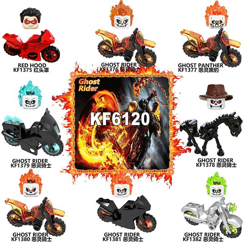Ghost rider com blocos de construção da motocicleta figuras de aprendizagem plástico para crianças brinquedos kf6120