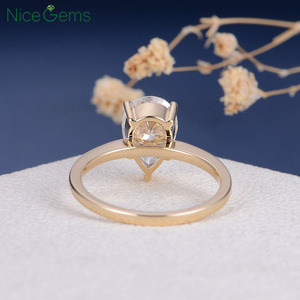 Image 3 - NiceGems 18K Yellow Gold 2 Carat Pear Cut Moissanite Engagement ring 5 prong set D Color For Women Wedding anniversary gift