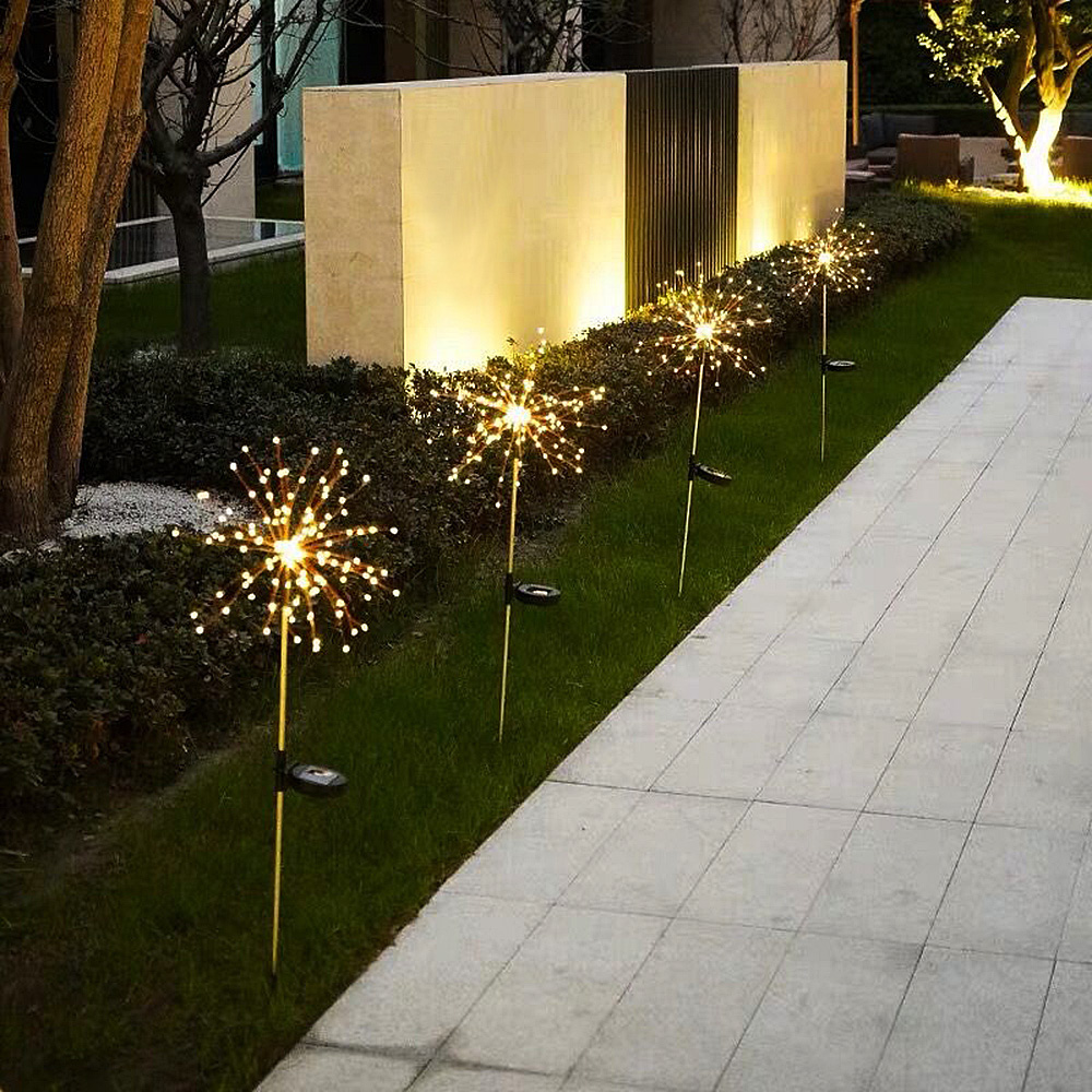 lowest price 1pcs Outdoor LED Solar Fireworks Lights 90 150 LEDs Waterproof String Fairy Light For Home Garden Street Christmas Decoration