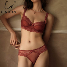 CINOON New Plus Size Bra Set Push Up Bras and Panty Set Embroidery Underwire Lingerie Set Ultrathin Underwear Set Sexy Lace Bra