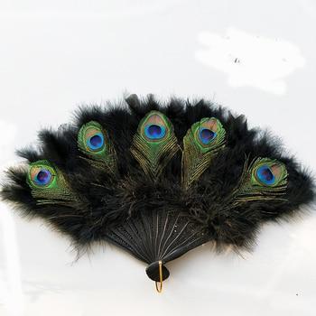 Abanico de plumas chino, plumas de pavo real, abanico de mano plegable,...