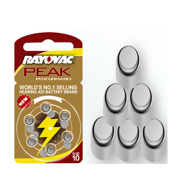 Hearing Aid Batteries 60 PCS / 1 box RAYOVAC PEAK A10/PR70/10 Zinc Air batterie 1.45V Size  Diameter 5.8mm Thickness 3.6mm