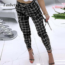 Moda escritório senhora xadrez imprimir calças compridas primavera feminina casual de cintura alta carga calça zíper design magro calças streetwear 5xl