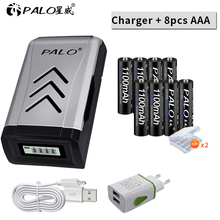 PALO 8pcs AAA rechargeable battery aaa batteria Ni-MH 1.2V batteries with LCD display USB charger for aa ni-mh ni-cd