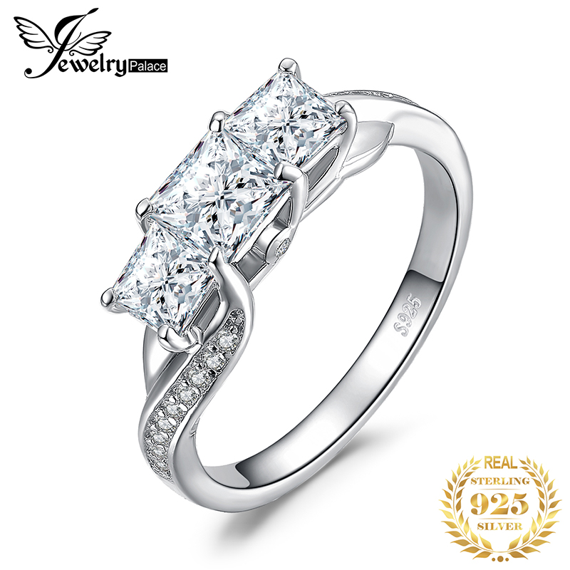 JPalace 3 Stone Princess Cut CZ Engagement Ring 925 Sterling Silver Rings for Women Anniversary Wedding Rings Silver 925 Jewelry in Rings from Jewelry Accessories