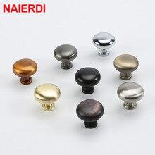 NAIERDI Zinc Alloy Cupboard Knob Handles Circle Handles Gold Silver Black Pulls Solid Cabinet Drawer Knobs Furniture Hardware