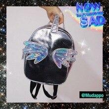 2019 Women Backpacks Fashion Holographic Unicorn Reflection PU Backpack Lovely Large Capacity Casual Woman Shoulder Bag TB40