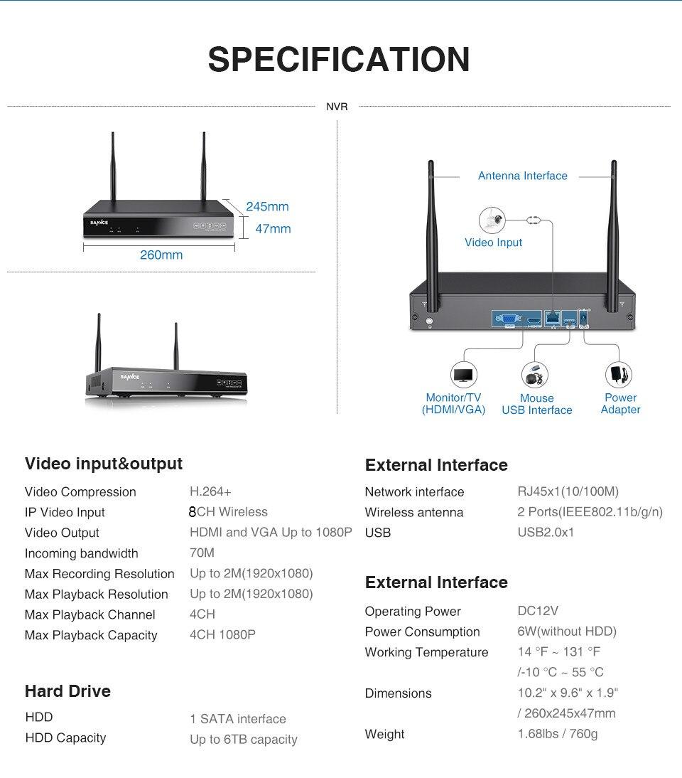 segurança vídeo sem fio hdmi 1080 p