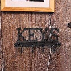 Żeliwny uchwyt ścienny 4 uchwyt na klucze-rustykalny stojak w stylu Vintage z haczykami na klucze
