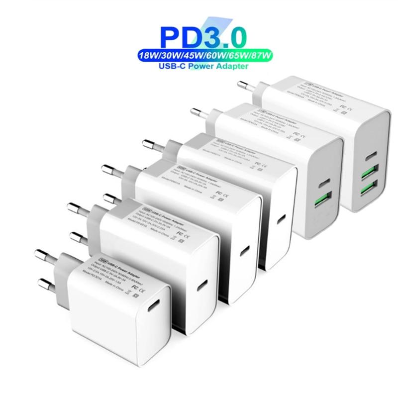 18 Вт 30 Вт 45 Вт, 60 Вт, 65 Вт TYPE-C USB-C внешнее аккумуляторное устройство адаптер QC3.0 Быстродействующее зарядное устройство PD USB-C для ноутбуков/iPad/...
