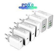 18w 30 45 60 65 TYPE-C USB-C adaptador de energia de carga qc3.0 pd carregador rápido USB-C para laptops/ipad/macbook pro samsung iphone