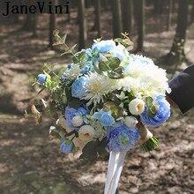 JaneVini Sky Blue Rose Articielle Wedding Bouquet for Bride Silk Bridesmaid Flower Bouquet Ivory Peony Bridal Bouquet Ramo Noiva
