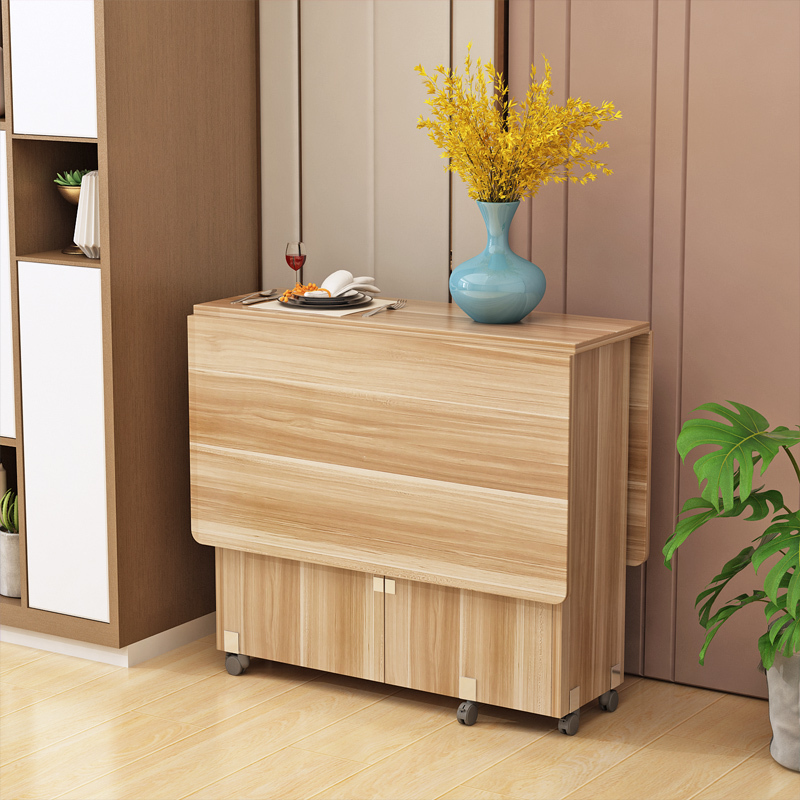 modern simple muebles home furniture multifunctional folding wooden dining table livingroom kitchen removable storage table