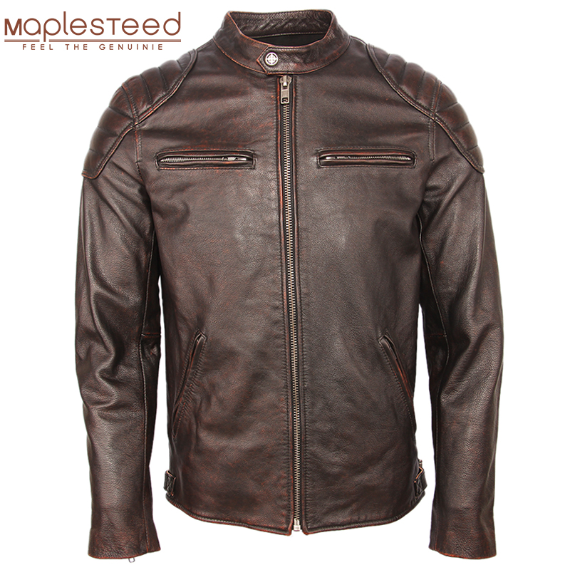 Vintage Distressed Leather Jacket Men 100% Cowhide Genuine Leather Jackets Slim Fit Motorcycle Jacket Man Biker Coat Autumn M357