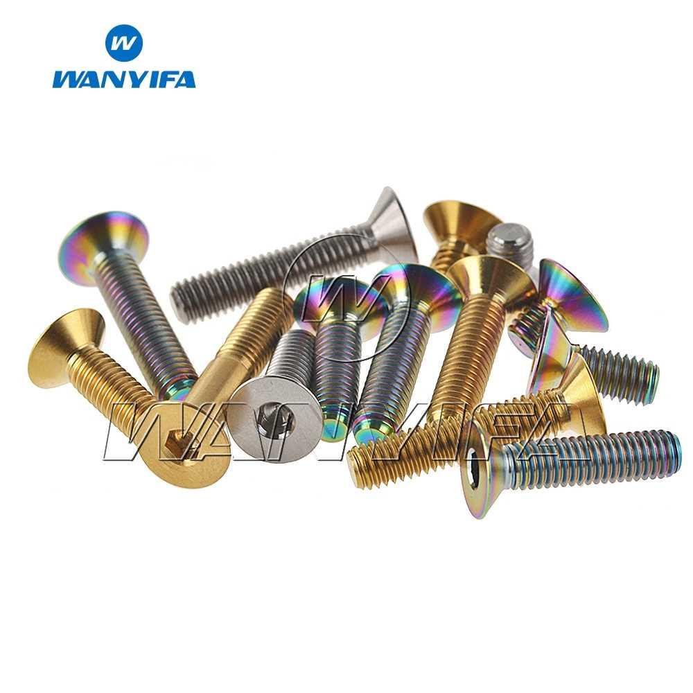 10pcs Titanium Countersunk Screws Bolts M6x10//15//20//25//30//35mm Flat Head