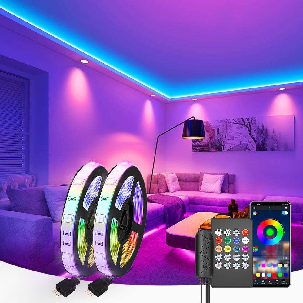 LED Strip Light RGB 5050 Music Sync Color Changing Sensitive Built-in Mic, App Controlled LED Lights 5M 10M 15M DC12V Flexible