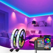 Luz de tira conduzida rgb 5050 música sincronização cor mudando sensível embutido mic, app controlado luzes led 5m 10m 15m dc12v flexível
