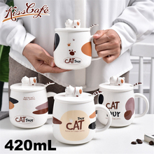 Creative Cute Cat Coffee Cup Ceramic Breakfast Milk Mug Afternoon Tea Cartoon Water Cafe with Handle and Cover