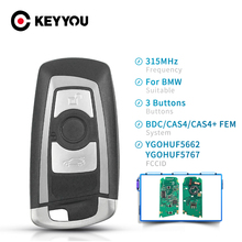 KEYYOU Car Remote Key For BMW 5 7 F Series FEM / BDC CAS4 2009 2016 YGOHUF5662 / YGOHUF5767 3 15MHz 434MHz 868 MHz 3 4 Buttons