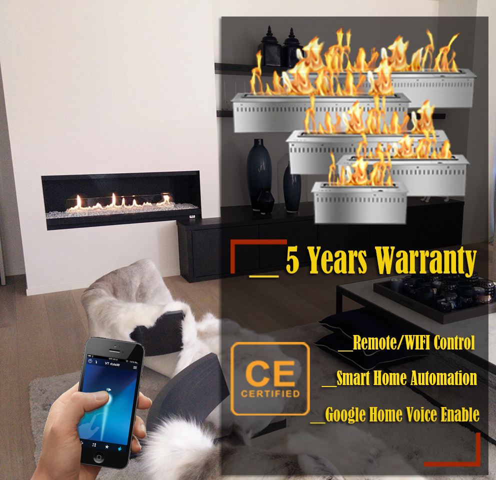 Hot Sale 72 Inches Remote Ethanol Burner Insert Wifi Control Indoor Fireplace