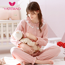 YATEMAO New Maternity Clothes Nursing Pajama Sets Cotton Lac