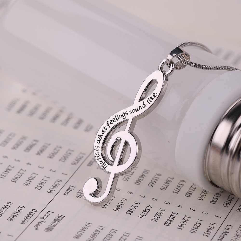 Catatan Musik Treble Simbol Musik Laporan Hadiah Kalung G Clef Ular Jaringan Liontin Kalung untuk Wanita