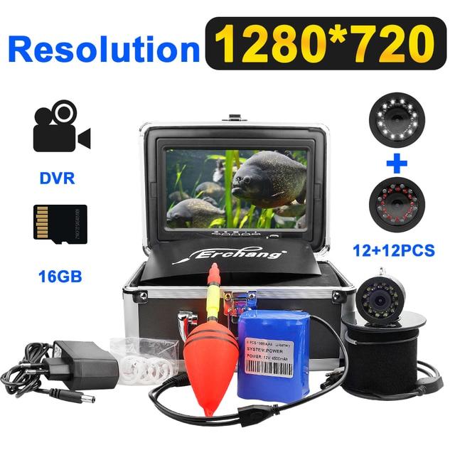 7 インチ 1280*720 15 メートルケーブル釣りカメラ魚群探知ビデオ水中カメラ 12 個の白色 led + 12 個の赤外線ランプ氷釣り