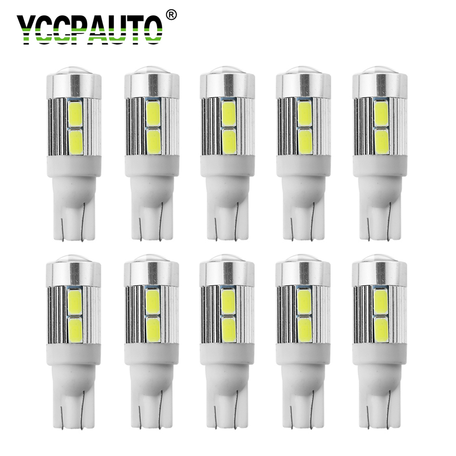 YCCPAUTO 10Pcs <font><b>T10</b></font> <font><b>LED</b></font> White <font><b>Blue</b></font> Red Yellow Bulbs 5630 10-SMD 194 168 W5W <font><b>LED</b></font> Car Clearance Lights Parking Position Lamp 12V image
