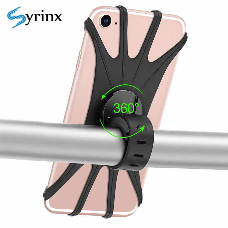 Syrinx Bicycle Handlebar Phone Holder Stand Silicone Motorcycle Bike Bracket Mount For iPhone X XS Samsung Xiaomi GPS Navigation