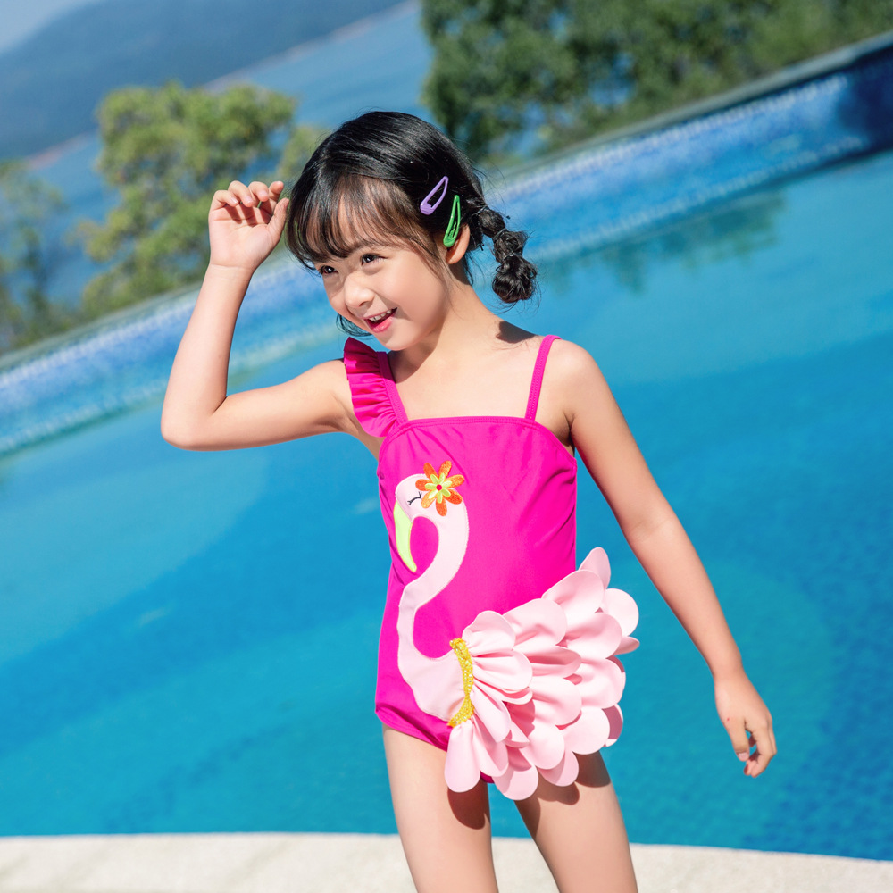 2019 Children Siamese Swimsuit Female Baby Embroidered Swan Swimwear Flamingo Cute Backless Little Princess