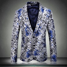 2019 The New Fashion Business High End Men Large Size Slim Fit Print Gentleman Trend Leisure Fashion Youth British Wind Blazer(China)