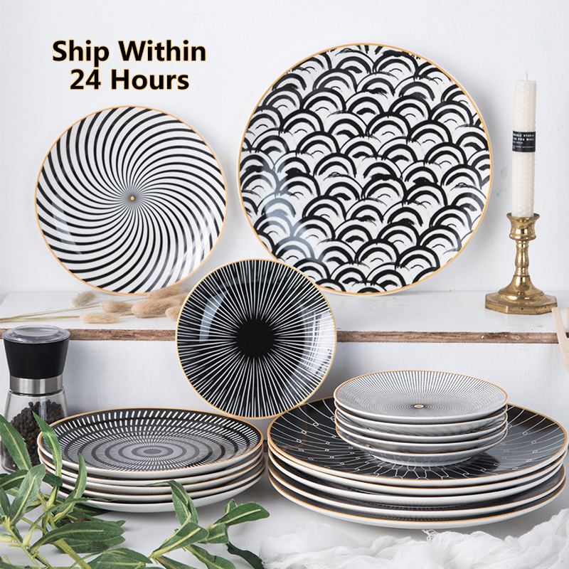 1PC Tableware Phnom Penh Geometry Tableware 6/8/10 Inch Ceramic Dinner Plate Dish Porcelain Dessert Plate Dinnerware Cake Plate
