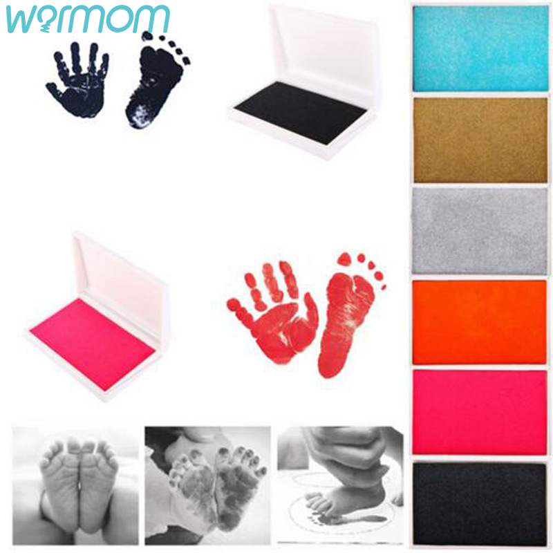 WARMOM Newborn Baby Handprint Footprint Oil Pad Baby Growth Memorial Safe Non-toxic Ink Pads 6 Color Maternal Infant Supply