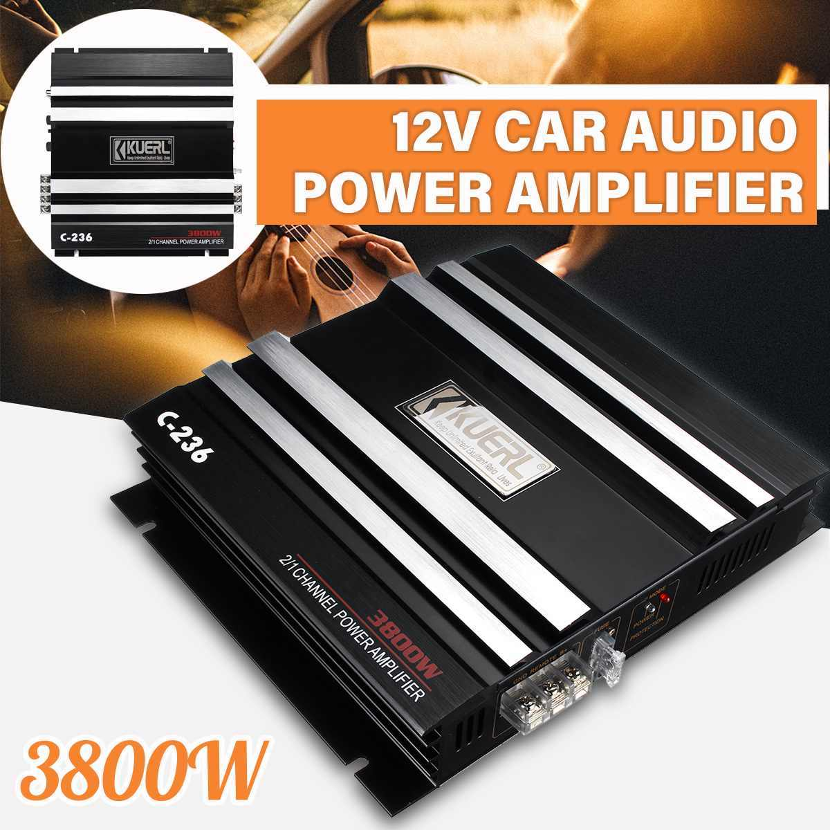 2 Channel 3800W Kelas Digital Hitam Sikat Logam Mobil Stereo Amplifier Universal Auto Audio Power Amplifier