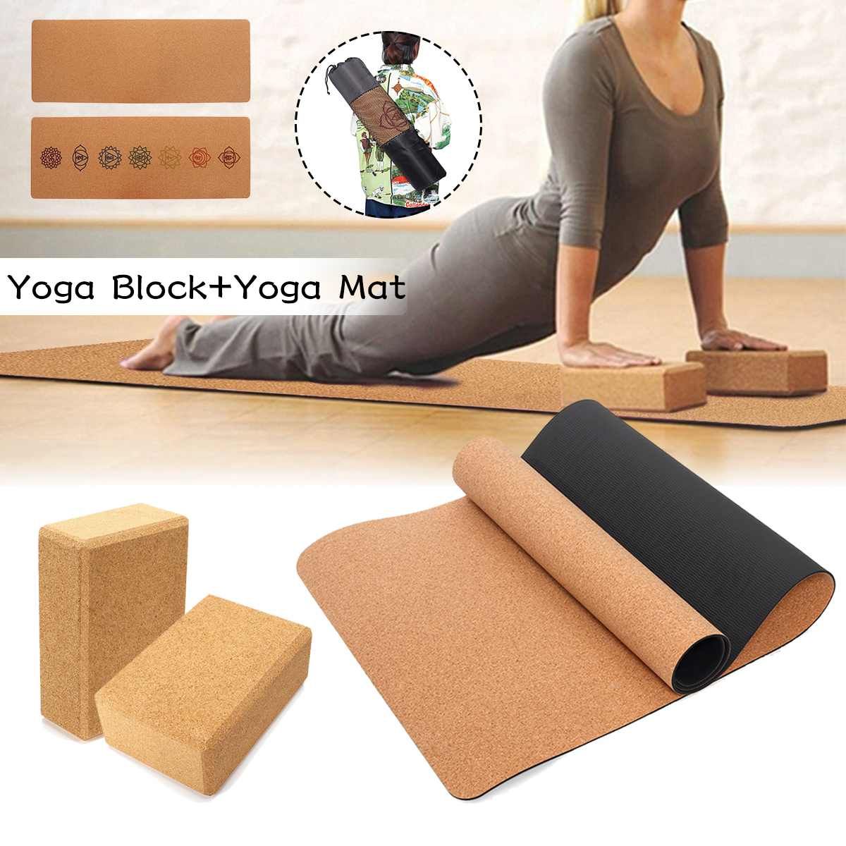 183X68cm Natural Cork TPE Yoga Mat With 2 Yoga Block Carry Bag Fitness Gym Sports Mats 5mm Non-slip Pilates Exercise Pads